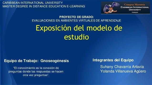 CARIBBEAN INTERNATIONAL UNIVERSITY MASTER DEGREE IN DISTANCE EDUCATION E-LEARNING  PROYECTO DE GRADO: EVALUACIONES EN AMBI...