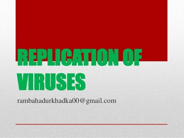 REPLICATION OF VIRUSES rambahadurkhadka00@gmail.com