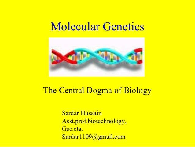 Molecular Genetics The Central Dogma of Biology Sardar Hussain Asst.prof.biotechnology, Gsc.cta. Sardar1109@gmail.com