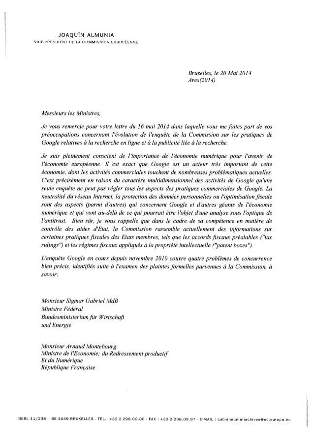 JOAQUIN ALMUNIA VICE-PRÉSIDENT DE LA COMMISSION EUROPÉENNE Bruxelles, le 20 Mai 2014 Ares(2014) Messieurs les Ministres, J...