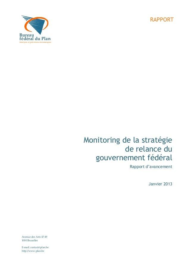 RAPPORTBureaufédéral du PlanderaalAnalyses et prévisions économiquesureau                                     Monitoring d...
