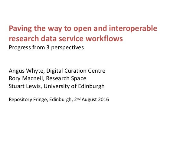 Paving the way to open and interoperable research data service workflows Progress from 3 perspectives Angus Whyte, Digital...