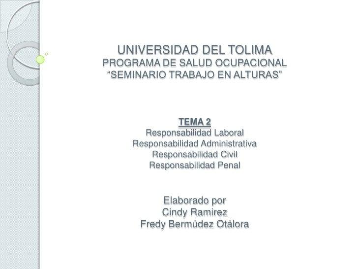 """UNIVERSIDAD DEL TOLIMAPROGRAMA DE SALUD OCUPACIONAL""""SEMINARIO TRABAJO EN ALTURAS""""TEMA 2Responsabilidad LaboralResponsabili..."""