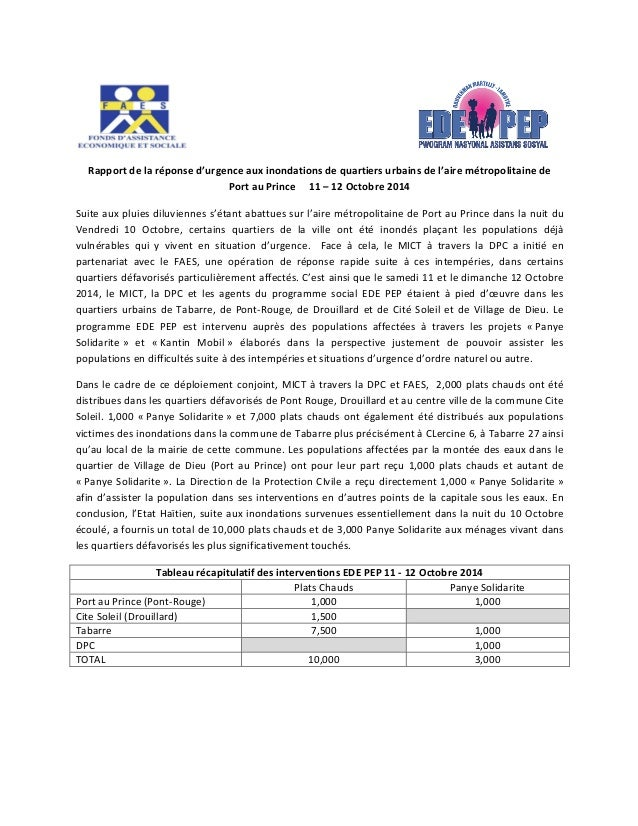 Rapport  de  la  réponse  d'urgence  aux  inondations  de  quartiers  urbains  de  l'aire  métropolitaine  de  Port  au  P...