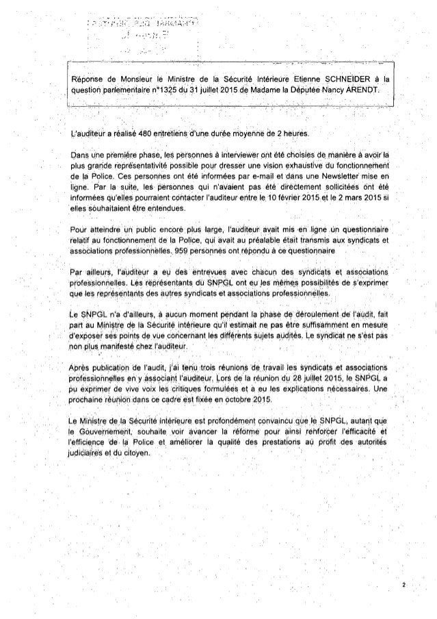 Réponse de Monsieur lé Ministre de la Sécurité intérieùrè Ëtiénne SCHNEIDER à la questiori parlementaire n'1325 du 31 juil...