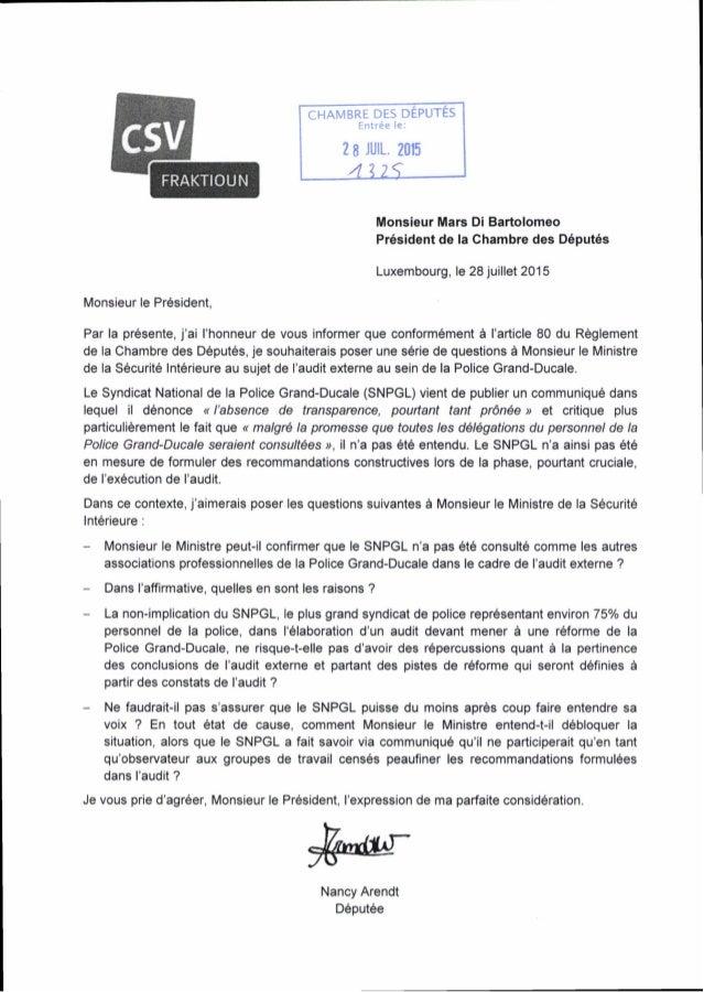FRAKTIOUN CHAMBRE DES DÉPUTES Entrée le: 2 8 JUIL. 2015 4 2 2? Monsieur Mars Dl Bartolomeo Président de la Chambre des Dép...