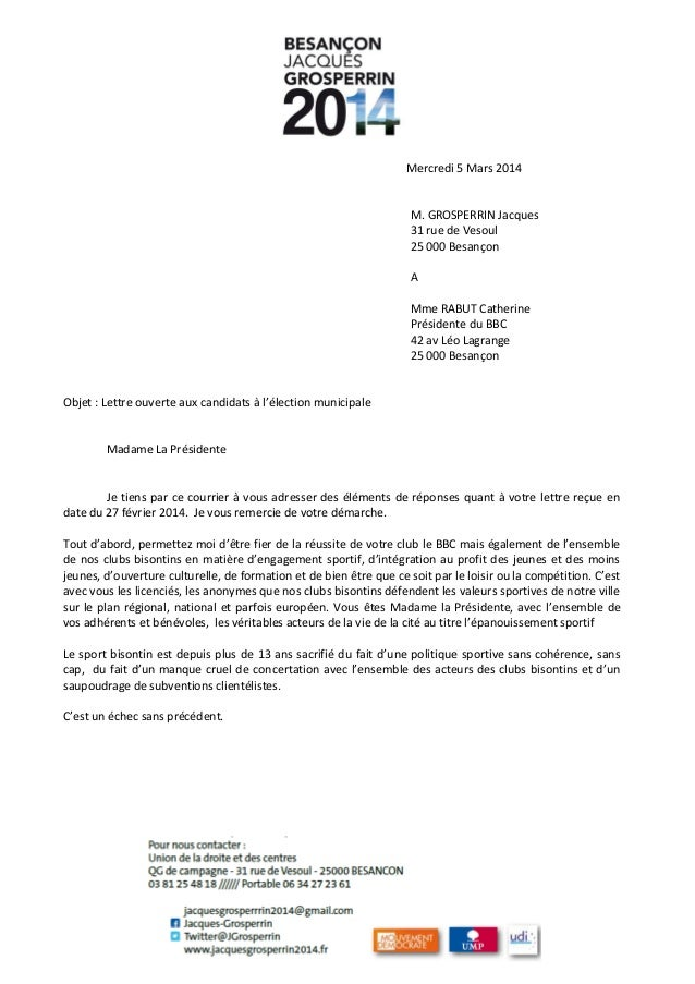Mercredi 5 Mars 2014  M. GROSPERRIN Jacques 31 rue de Vesoul 25 000 Besançon A Mme RABUT Catherine Présidente du BBC 42 av...