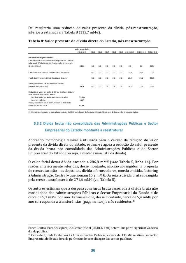 – com as alterações propostas nas suas maturidades e taxa de juro – seria de 120,9 mM€, como consta da Tabela 9, i.e., 72,...