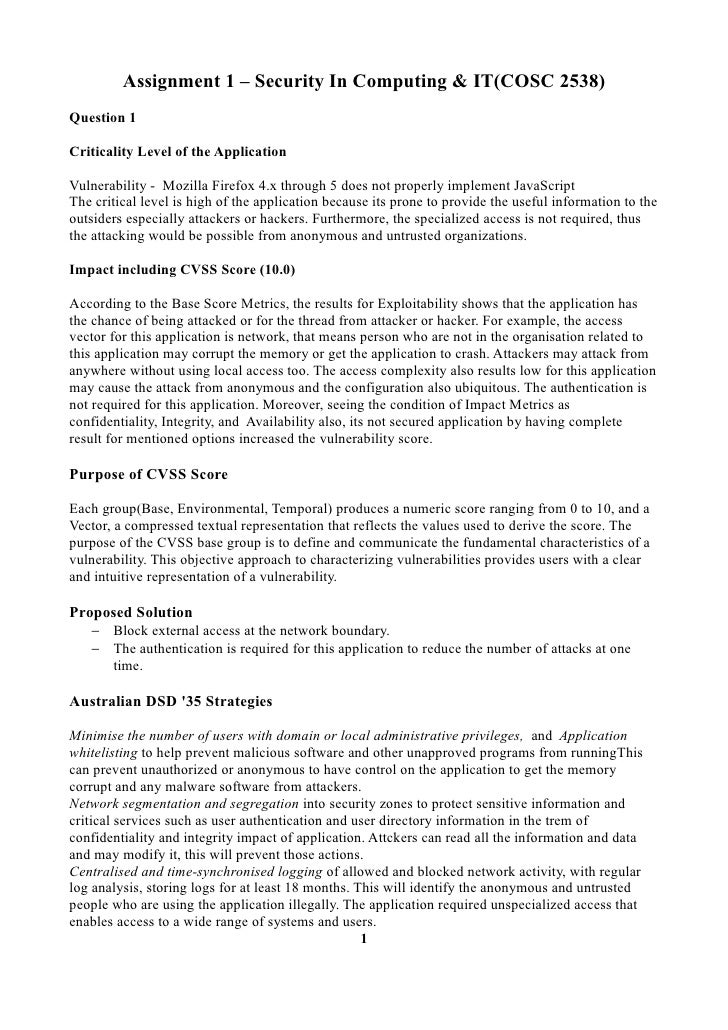Assignment 1 – Security In Computing & IT(COSC 2538)Question 1Criticality Level of the ApplicationVulnerability - Mozilla ...