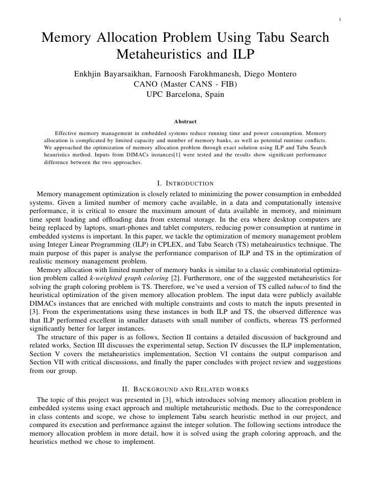 1   Memory Allocation Problem Using Tabu Search             Metaheuristics and ILP               Enkhjin Bayarsaikhan, Far...