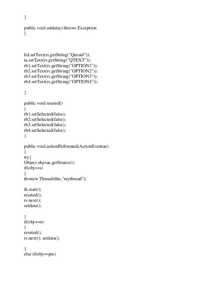 Project Report on Exam Suite/Test Application/Exam App ( JAVA )