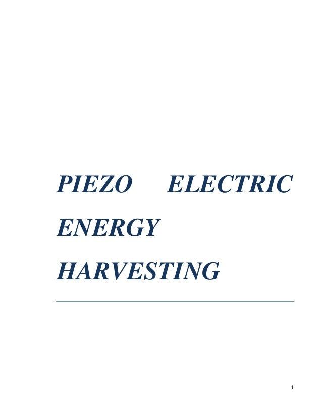 PIEZO  ELECTRIC  ENERGY HARVESTING  1