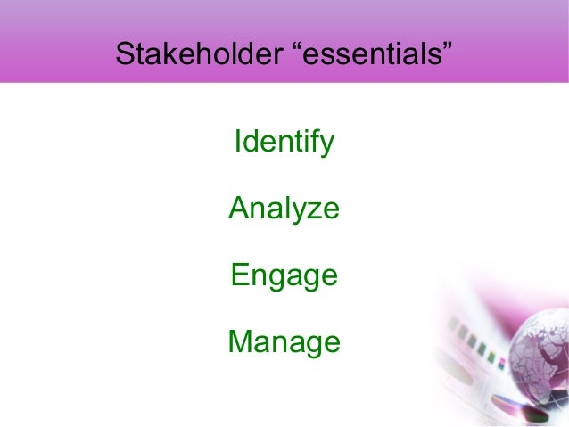 corporate stakeholders and their roles A corporate stakeholder can affect or be affected by the actions of a proponents in favour of stakeholders may base their arguments on the following four key.
