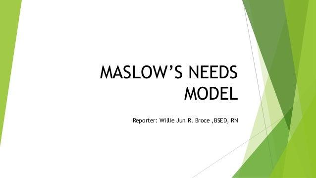 MASLOW'S NEEDS MODEL Reporter: Willie Jun R. Broce ,BSED, RN