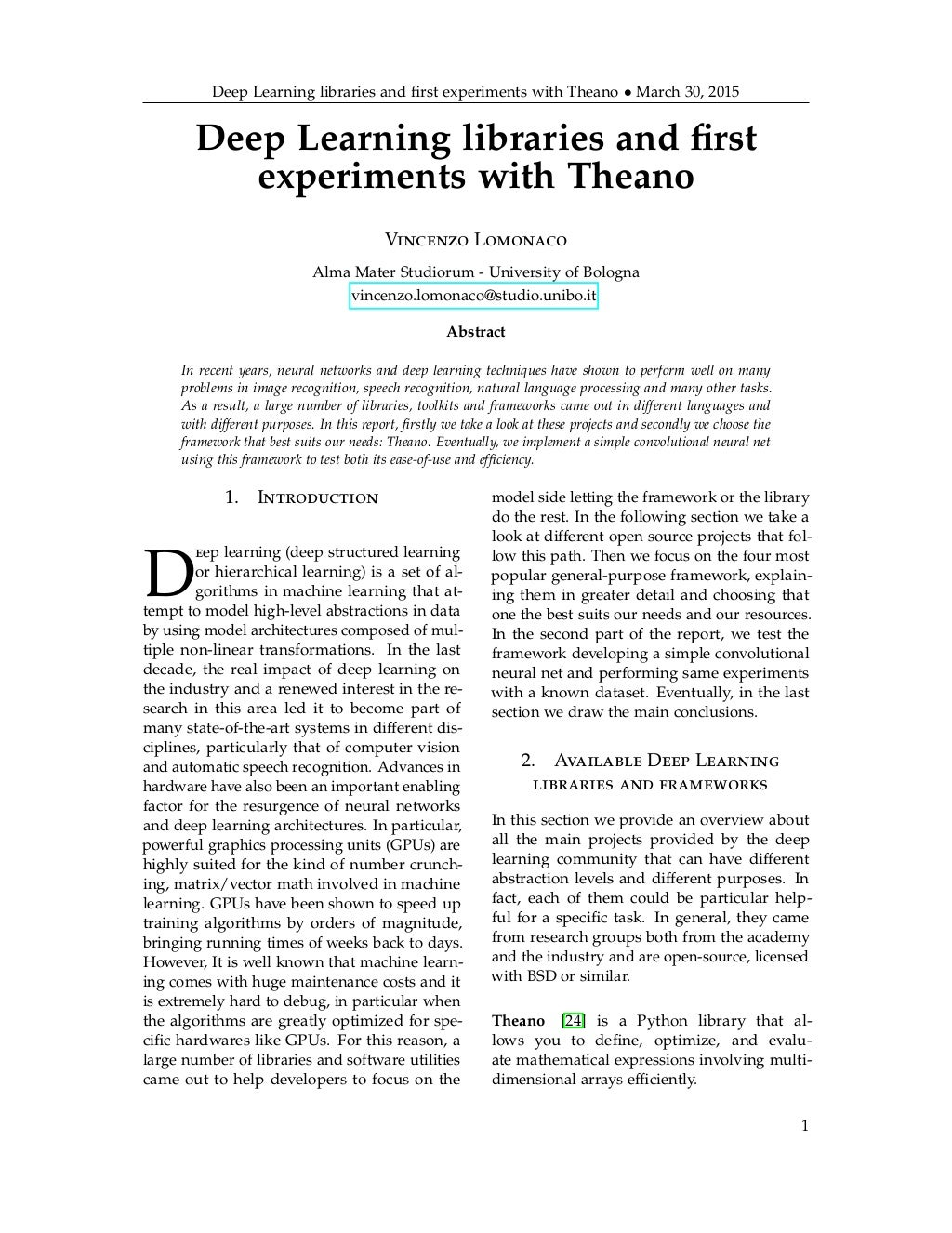 Deep Learning libraries and first experiments with Theano