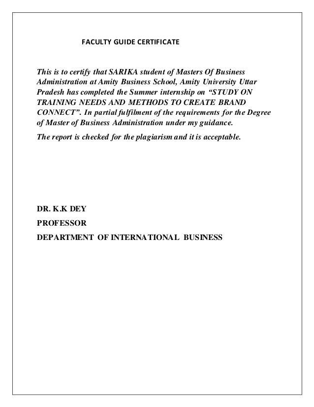 Amity university summur internship sample report nisharnaqvi
