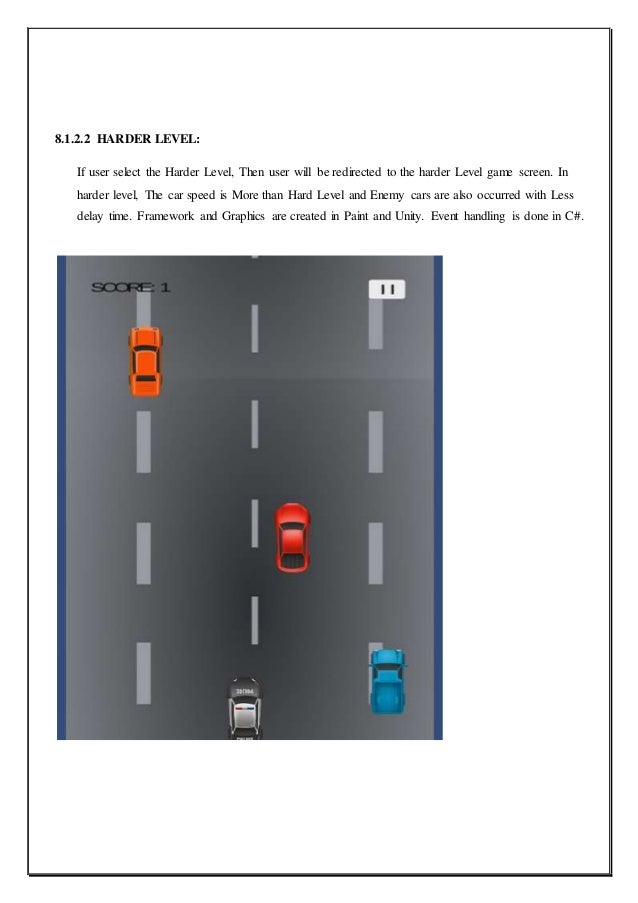 Report on car racing game for android