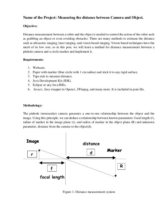 Project report for measuring distance from camera to object