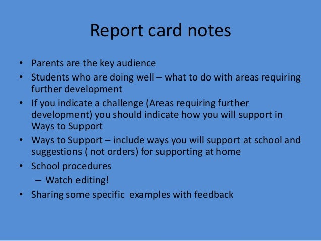 Assessment: Report cards and student led conferences