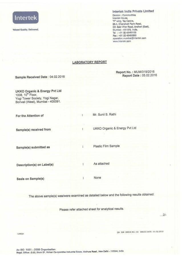 "lntertek India Private Limited  I  te  k Division :  Commodities Intertek House,   ""F"" wing.  Tex Centre.   26—A,  Chandiv..."