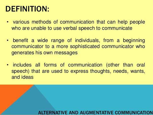 Alternative and Augmentative Communication Systems