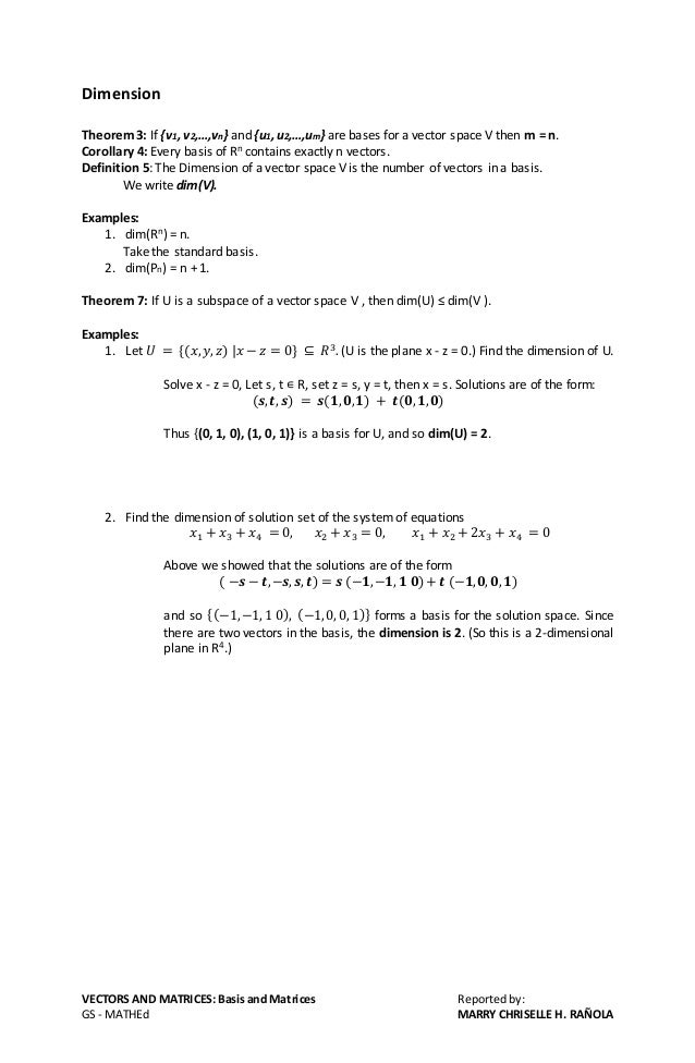 Vectors And Matrices Basis And Dimension