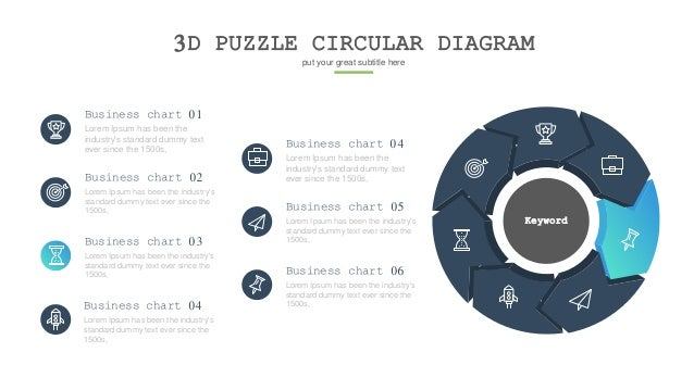 3D PUZZLE CIRCULAR DIAGRAM put your great subtitle here Keyword Lorem Ipsum has been the industry's standard dummy text ev...