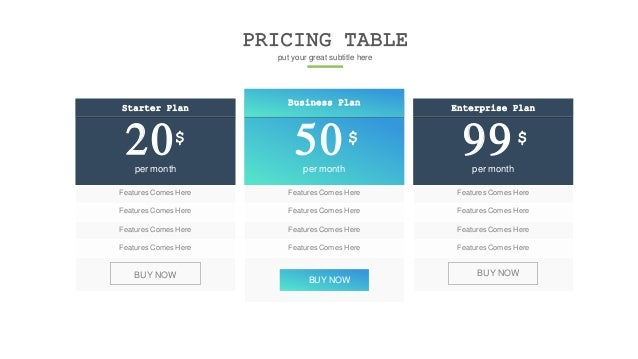 PRICING TABLE put your great subtitle here Starter Plan 20$ per month Features Comes Here Features Comes Here Features Com...