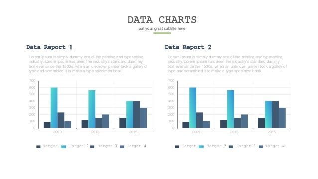 DATA CHARTS put your great subtitle here Data Report 1 Lorem Ipsum is simply dummy text of the printing and typesetting in...