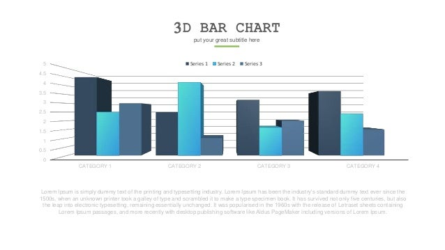 3D BAR CHART put your great subtitle here 0 0.5 1 1.5 2 2.5 3 3.5 4 4.5 5 CATEGORY 1 CATEGORY 2 CATEGORY 3 CATEGORY 4 Seri...