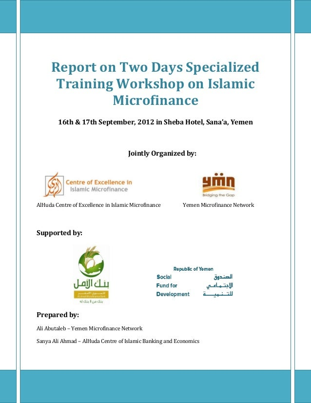 Report on Two Days Specialized      Training Workshop on Islamic              Microfinance        16th & 17th September, 2...