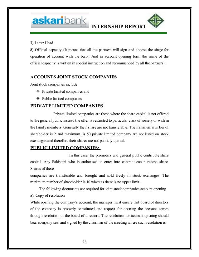 askari bank report Hrmi619 internship report on askari bank limited acknowledgement all the staff helped me a lot in explaining the complicated procedures of bank madam samia who is the operation manager helped me a lot.