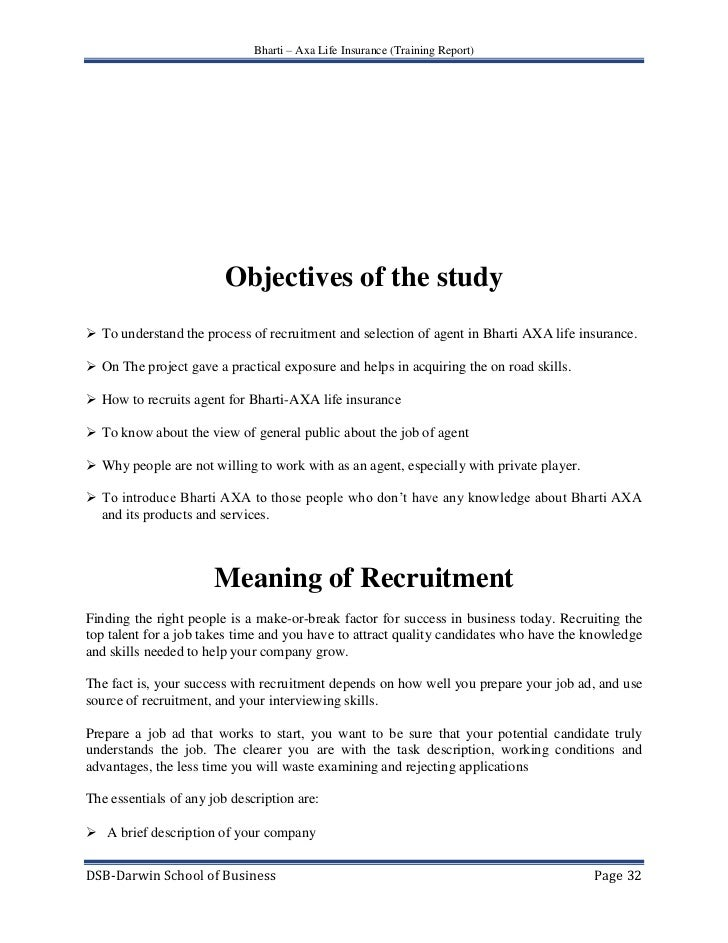 A Project Report On Training  Recruitment Of Life Insurance Agent G