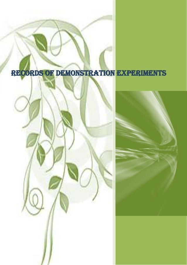 Records of demonstration experiments                                       ········