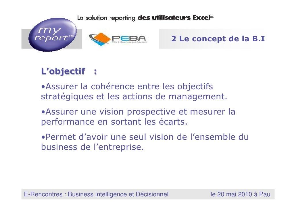 2 Le concept de la B.I             L'objectif :          •Assurer la cohérence entre les objectifs          stratégiques e...