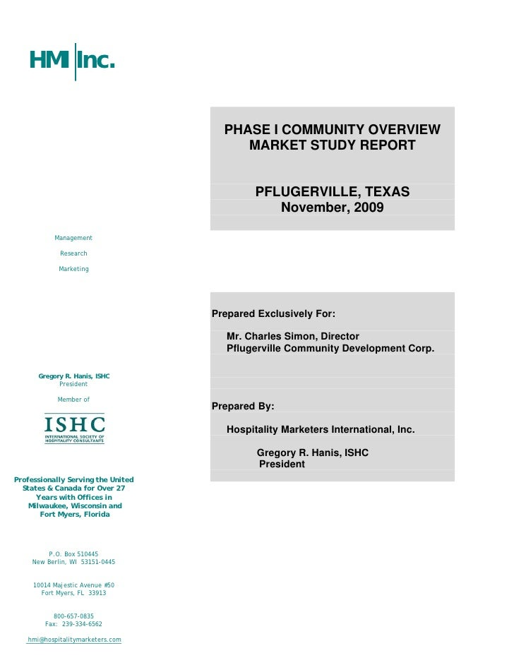 HMI Inc.                                        PHASE I COMMUNITY OVERVIEW                                          MARKET...