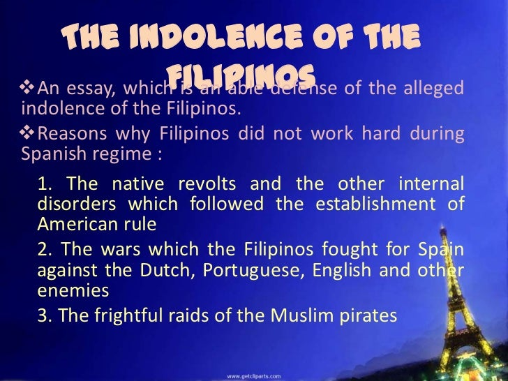 Reflection About the Indolence of the Filipinos