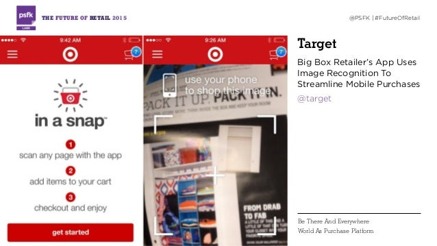 Target Big Box Retailer's App Uses Image Recognition To Streamline Mobile Purchases @target THE FUTURE OF RETAIL 2015 @PSF...