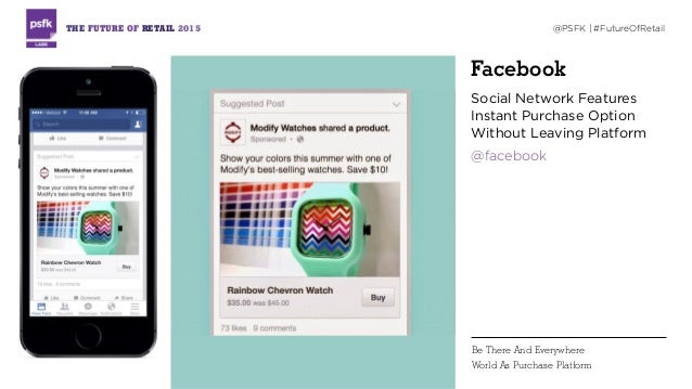 Facebook Social Network Features Instant Purchase Option Without Leaving Platform @facebook THE FUTURE OF RETAIL 2015 @PSF...