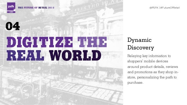 THE FUTURE OF RETAIL 2015 @PSFK   #FutureOfRetail Dynamic  Discovery Relaying key information to shoppers' mobile devices...