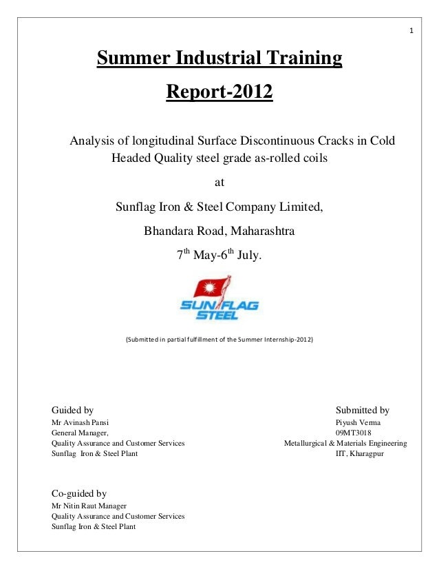 1             Summer Industrial Training                                  Report-2012     Analysis of longitudinal Surface...