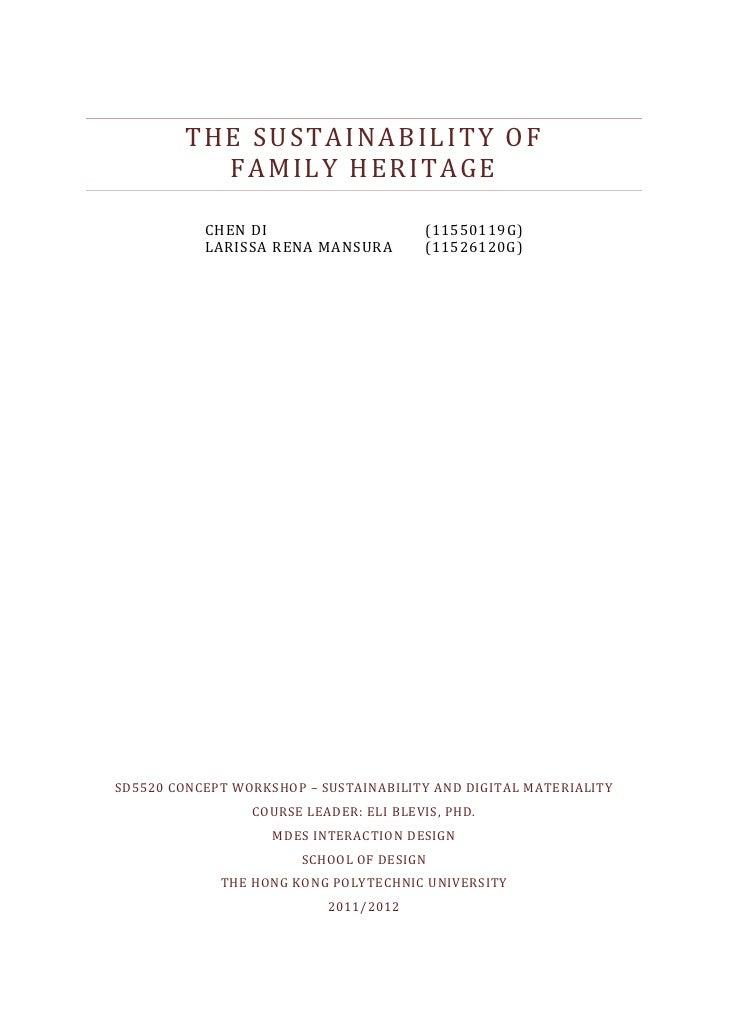 THESUSTAINABILITYOF               FAMILYHERITAGE                                                                   ...