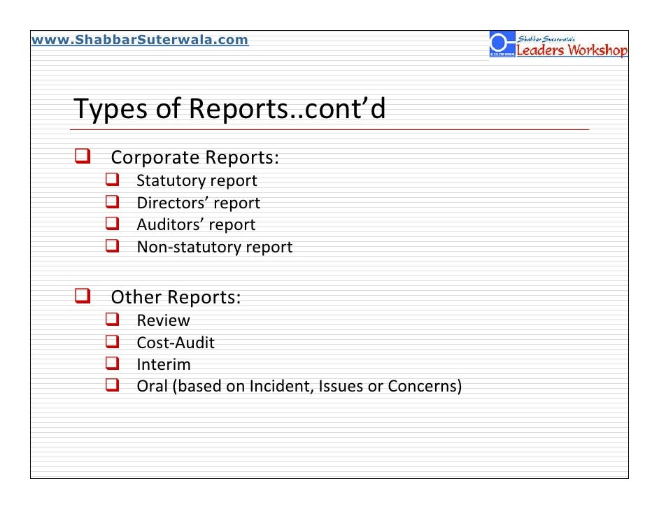 Various kinds of written reports