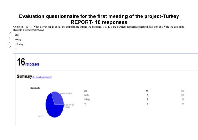 Evaluation questionnaire for the first meeting of the project-Turkey                           REPORT- 16 responsesQuestio...