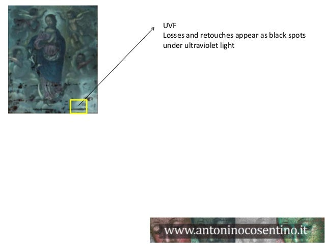 UVFLosses and retouches appear as black spotsunder ultraviolet light