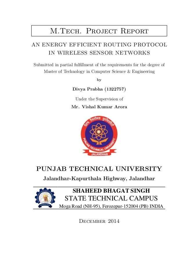 Project report on An Energy Efficient Routing Protocol in Wireless Se…