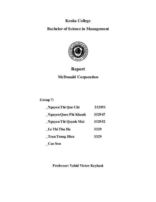 management report on mc donalds Mcdonald's information system management mcdonald's management the technical information focuses on the variance analysis and exception reports that.