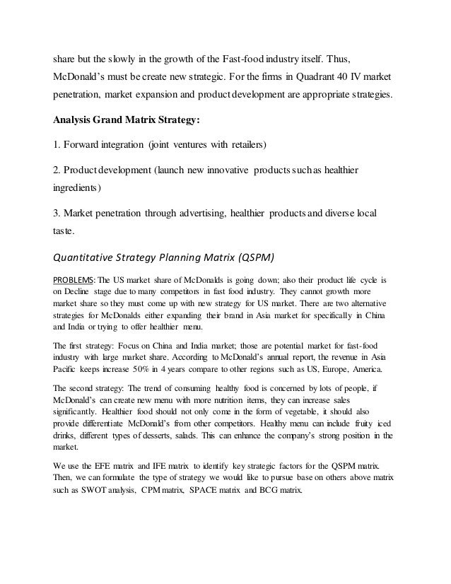 strategic alternatives for mcdonald Free essays on strategic alternatives for solving problems mcdonalds for students use our papers to help you with yours 1 - 30.