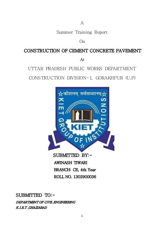summer training report of construction company