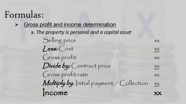 Installment Sales Method Income Taxation